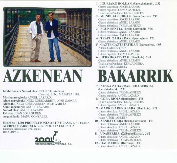 AZKENEAN BAKARRIK Contraportada disco